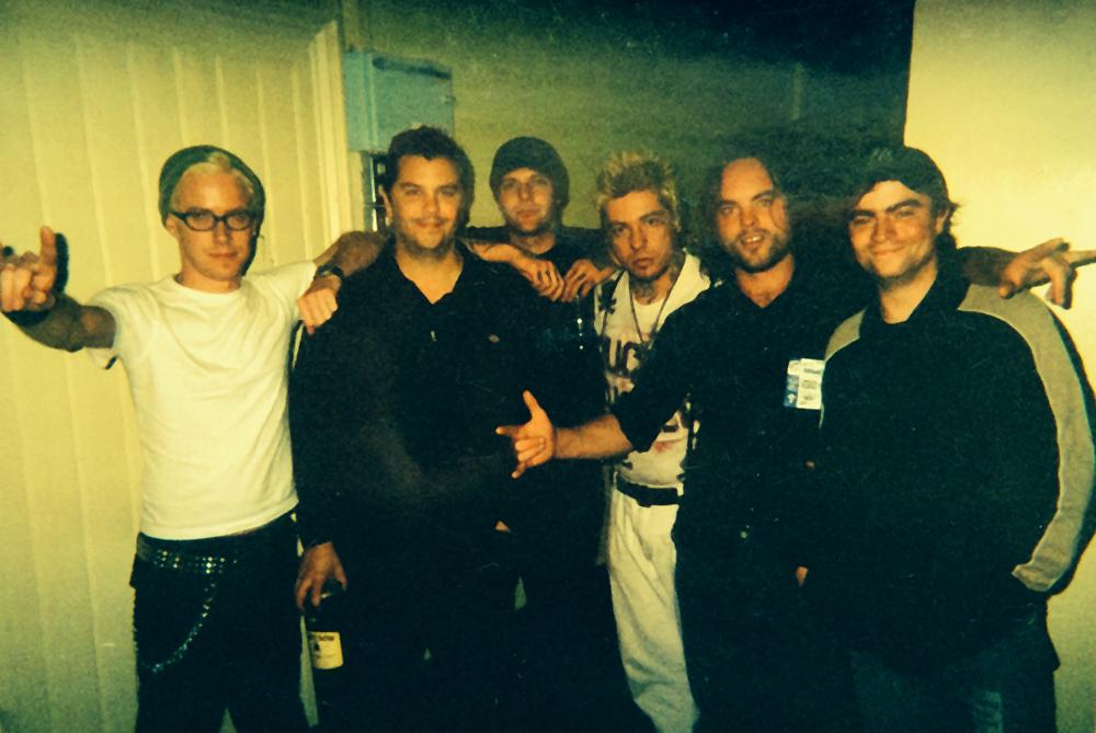 Supporting Rancid in Dublin, 2003 (l-r) Me, Matt Freeman, Brett Reed, Lars Frederiksen, Trevor and Brendan.
